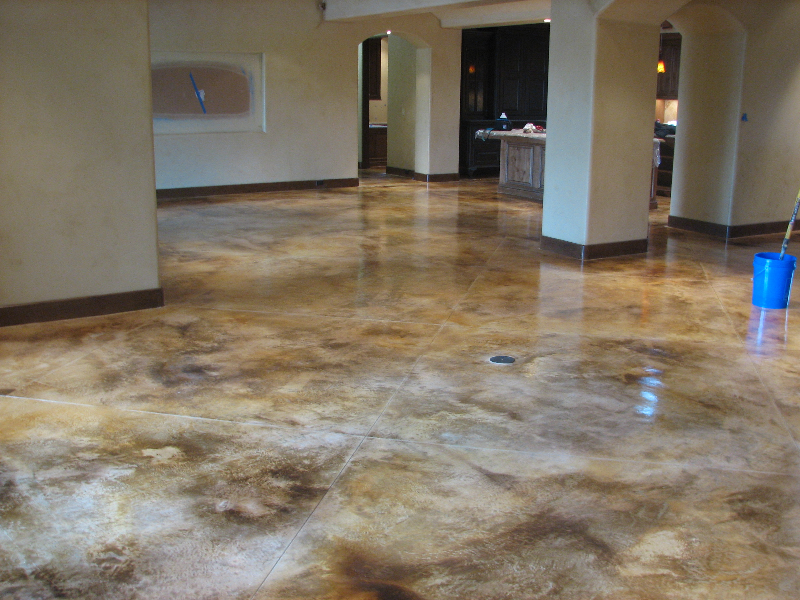 Acid stain concrete bluejpg pictures for Stained concrete floors